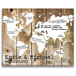 Cathy's Concepts Our World Canvas Guest Book in Brown