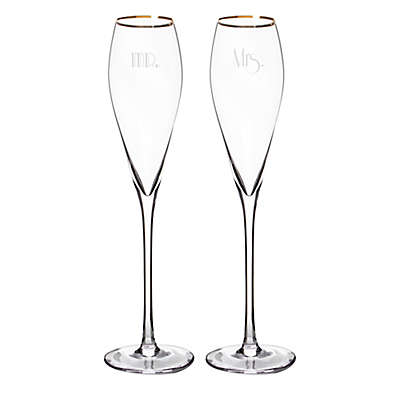 """Cathy's Concepts """"Mr."""" and """"Mrs."""" Gatsby Champagne Flutes in Gold (Set of 2)"""