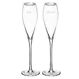 Cathy's Concepts Silver Rim Champagne Flutes (Set of 2)