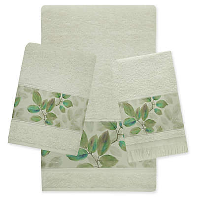 Bacova Waterfall Leaves Towel Collection in Green