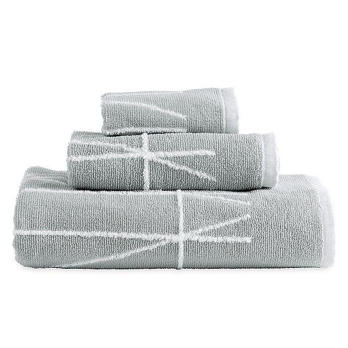 Alternate image 1 for DKNY Geometrix Fingertip Towel in White/Slate