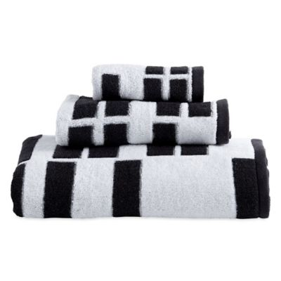 Dkny High Rise Fingertip Towel In White Black Bed Bath