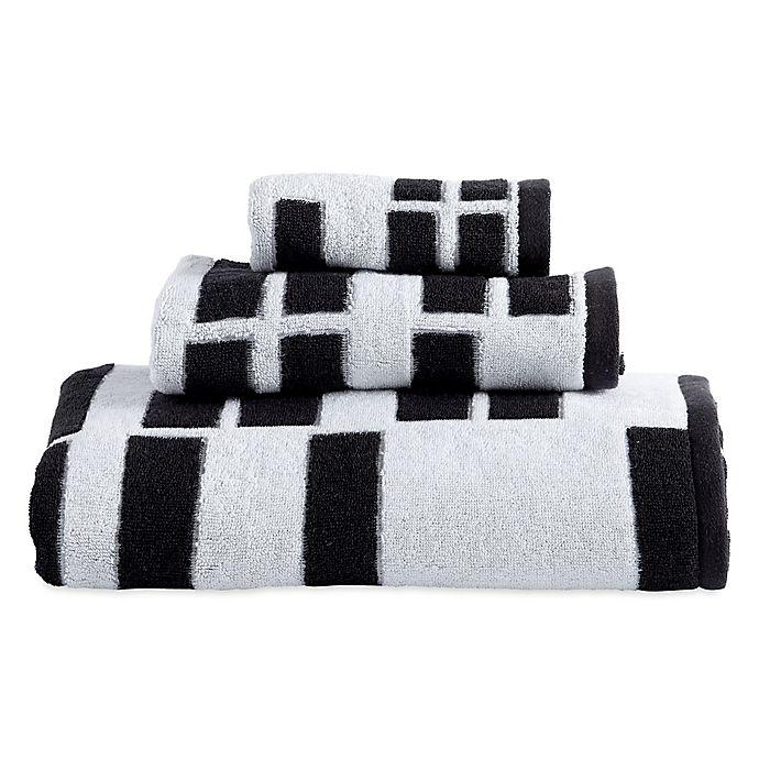 DKNY High Rise Bath Towel in White/Black | Bed Bath & Beyond