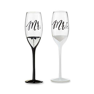 "Kate Aspen Tuxedo/Wedding Gown ""Mr."" and ""Mrs."" 2-Piece Toasting Flutes Set"