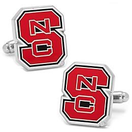 North Carolina State University Silver-Plated and Enamel Team Logo Cufflinks
