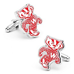 University of Wisconsin Silver-Plated and Enamel Vintage Mascot Cufflinks