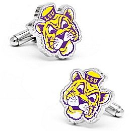 Louisiana State University Silver-Plated and Enamel Vintage Mascot Cufflinks