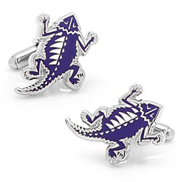 Texas Christian University Silver-Plated and Enamel Vintage Mascot Cufflinks