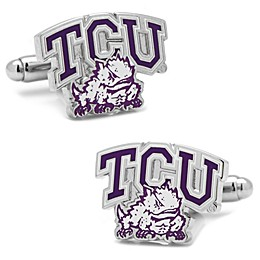 Texas Christian University Silver-Plated and Enamel Team Logo Cufflinks