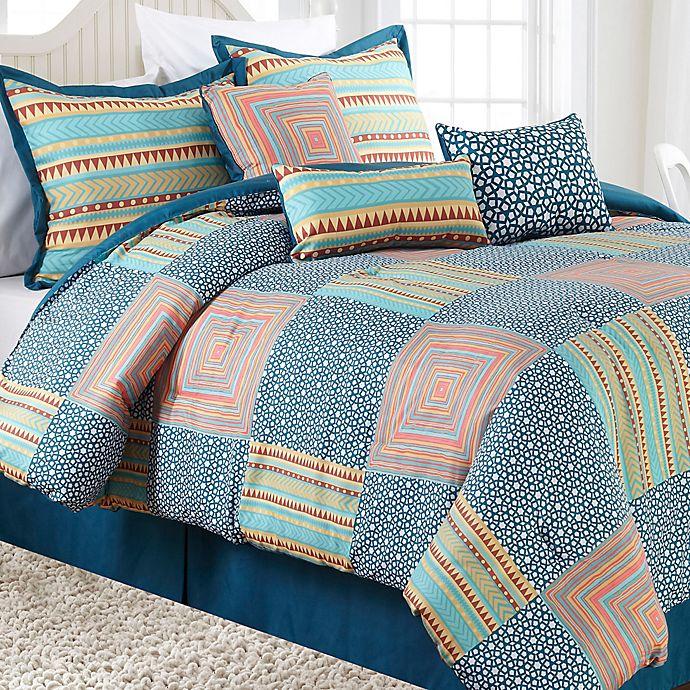 Alternate image 1 for Nanshing Amias 7-Piece Reversible Comforter Set in Blue/Pink