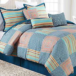 Nanshing Amias 7-Piece Reversible Comforter Set in Blue/Pink