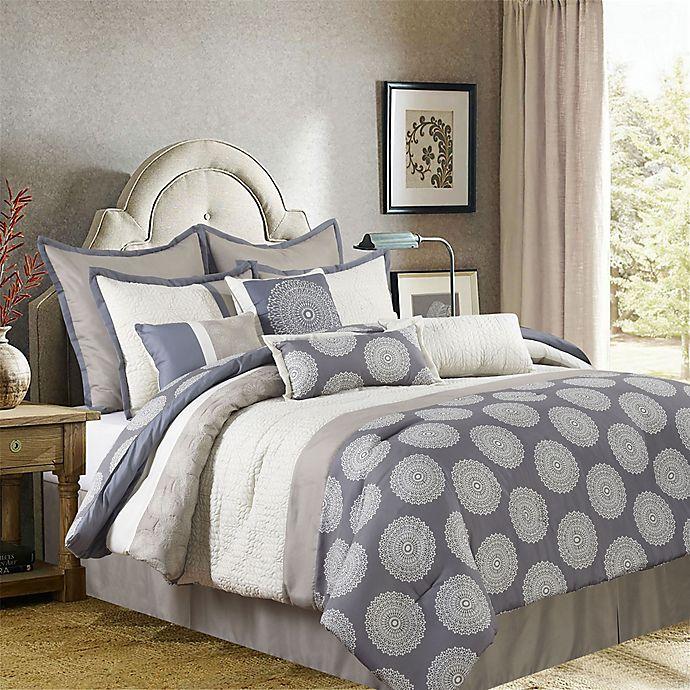Alternate image 1 for Nanshing Dante 10-Piece Reversible Comforter Set in Beige/Grey