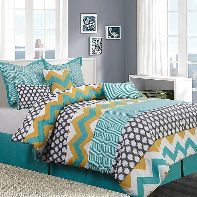 Alternate image 1 for Nanshing Nolan 7-Piece California King Comforter Set in Blue/Yellow
