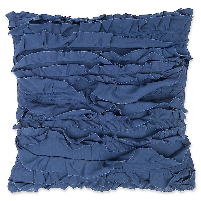 Alternate image 1 for Levtex Home Clea Ruffled Square Throw Pillow in Navy