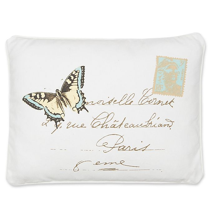 Alternate image 1 for Levtex Home Victoria Butterfly Oblong Throw Pillow in White