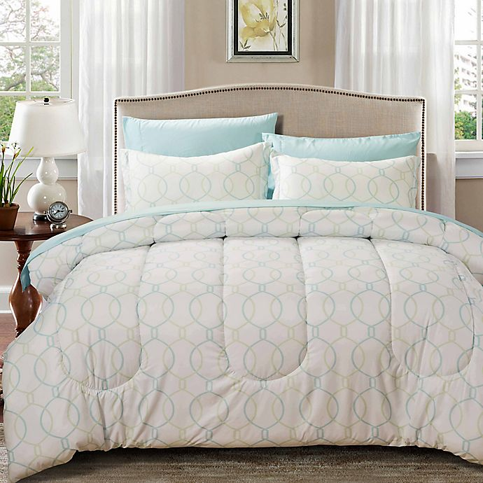Alternate image 1 for Nanshing Monarch 7-Piece Reversible Full/Queen Comforter Set in White/Aqua