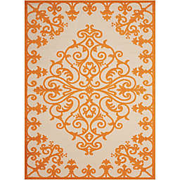 "Nourison Aloha 3'6"" x 5'6"" Machine Woven Indoor/Outdoor Area Rug in Orange"