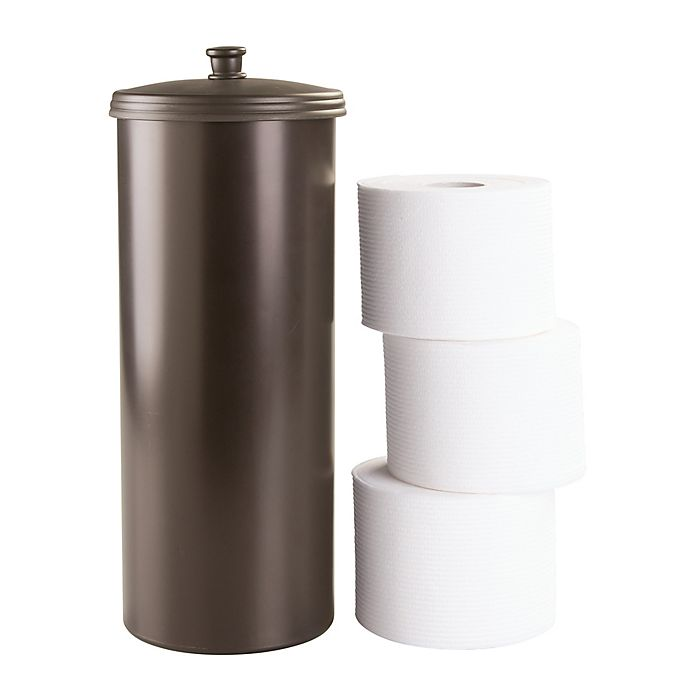 Alternate image 1 for iDesign® Kent 3-Roll Toilet Paper Canister in Bronze