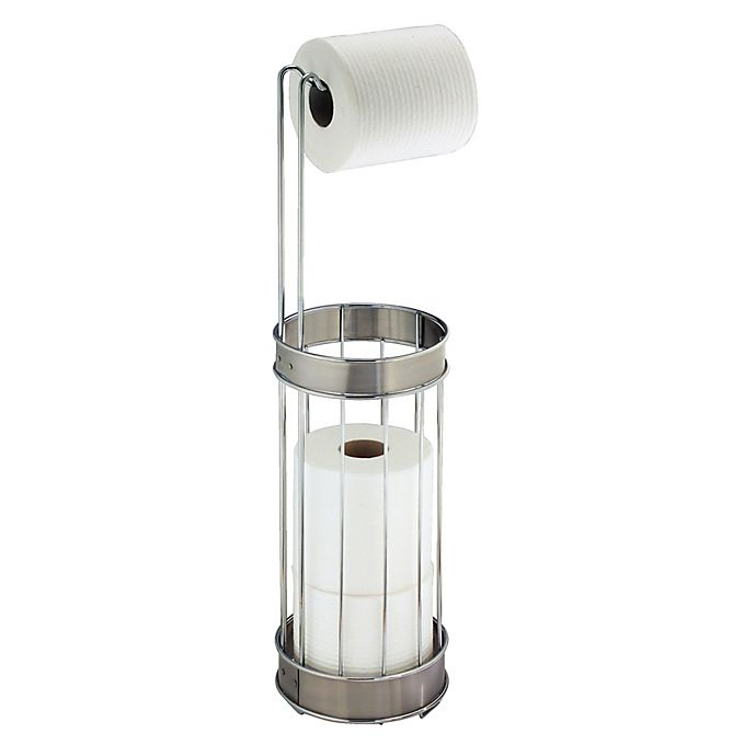 Idesign Standing 3 Roll Toilet Paper Holder Plus In Chrome Brushed Stainless Steel Bed Bath Beyond