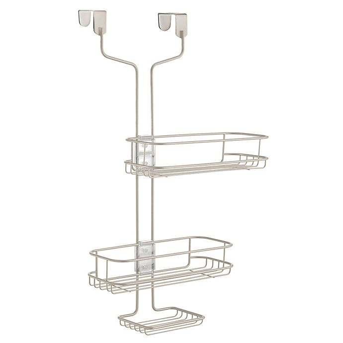 Alternate image 1 for iDesign® Linea Adjustable Over-the-Door Shower Caddy in Satin
