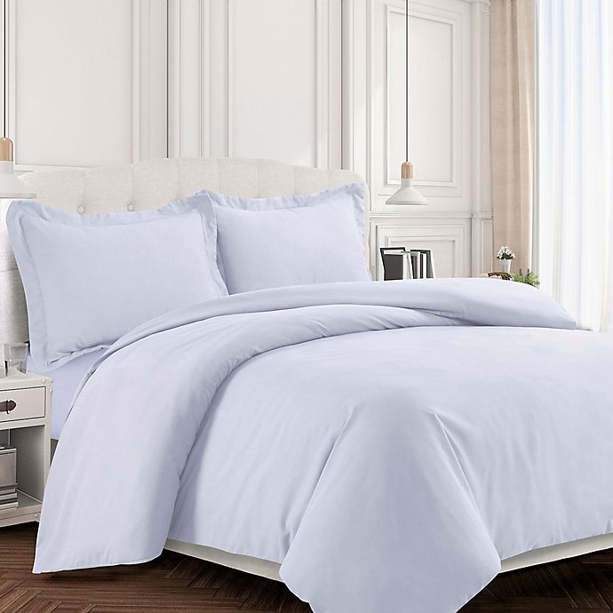 Alternate image 1 for Tribeca Living Valencia Solid Twin Duvet Cover Set in White