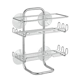 iDesign® Classic Suction Shelves Medium Shower Caddy in Silver