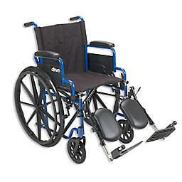 24-Inch Flip Back Desk Arms Wheelchair in Blue