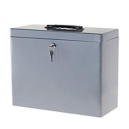 Locking Steel File Box in Grey