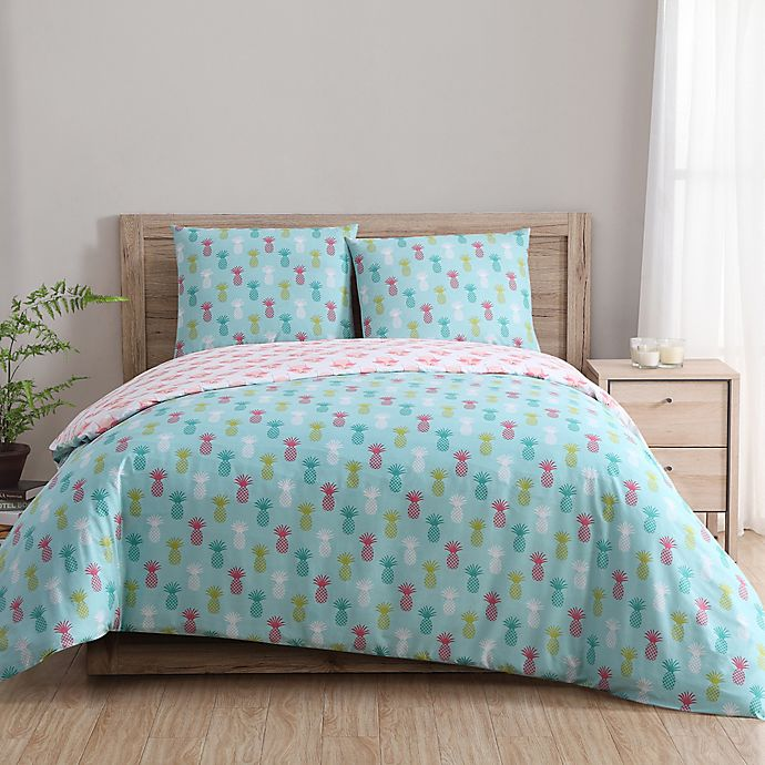 Alternate image 1 for Clairebella Tropical Reversible Full/Queen Duvet Cover Set in Teal/Pink