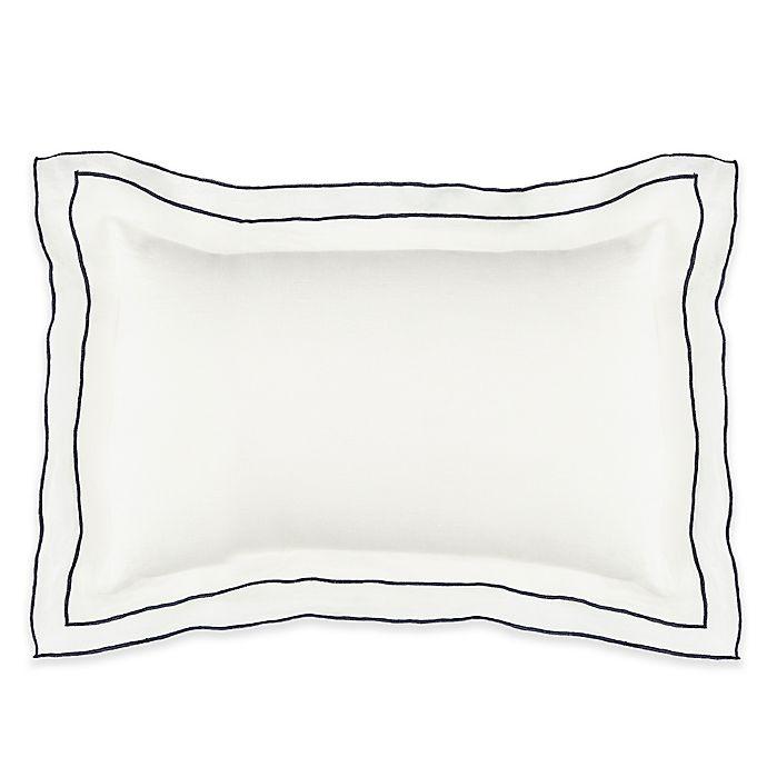 Alternate image 1 for Kassatex Biarritz Boudior Throw Pillow in White/Indigo