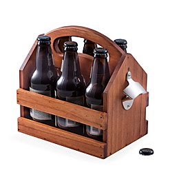 Bey-Berk Wood Beverage Caddy with Bottle Opener