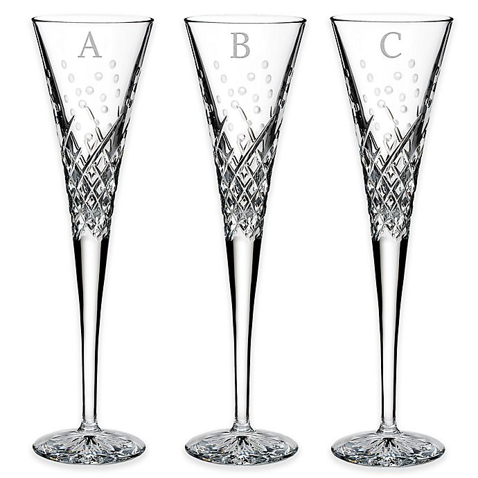 Alternate image 1 for Waterford® Wishes Happy Celebrations Block Letter Monogram Toasting Flutes (Set of 2)