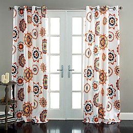 Adrianne 84-Inch Room Darkening Window Curtain Panel Pair in White/Orange