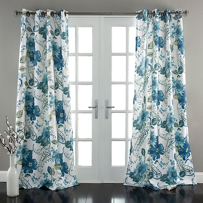 Alternate image 1 for Lush Décor Floral Paisley 84-Inch Room Darkening Window Curtain Panel Pair in Blue