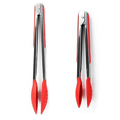 Dexas® Spoon & Strain™ Stainless Steel Tongs in Red