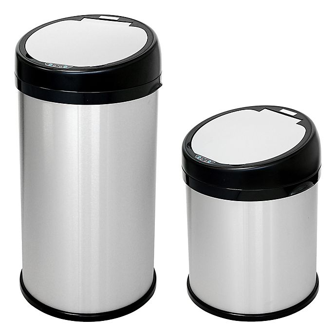 Alternate image 1 for halo™ Stainless Steel Extra-Wide Round Sensor Trash Can