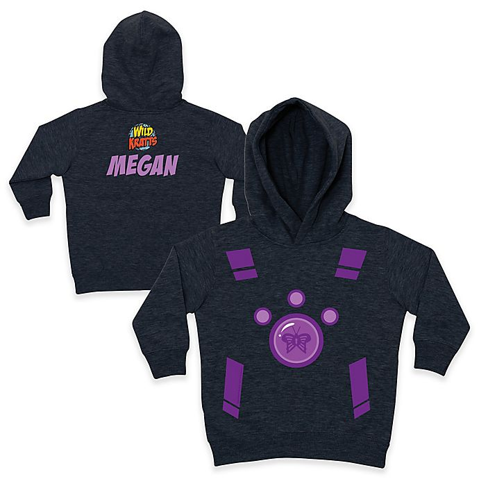 Alternate image 1 for Wild Kratts™ Butterfly Pullover Hoodie in Charcoal/Purple