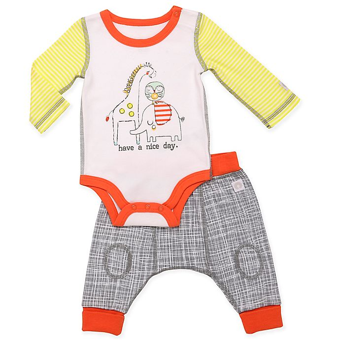 Alternate image 1 for Boppy® 2-Piece Animal Bodysuit and Pant Set in White