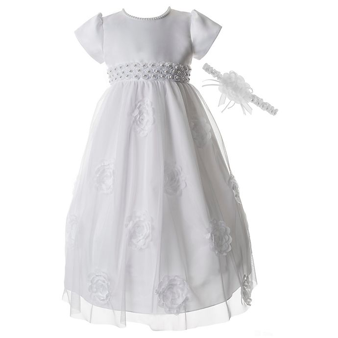 6be55a240 Lauren Madison Floral Soutache Christening Dress with Pearl Neckline and  Headband Set