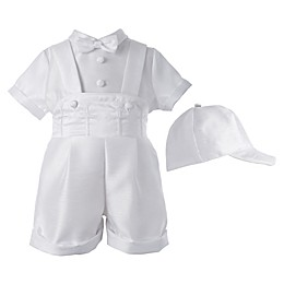 Lauren Madison 3-Piece Christening Overall Short and Hat Set