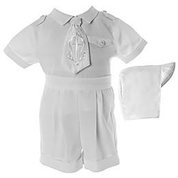 Lauren Madison Embroidered Cross Christening Short and Hat Set