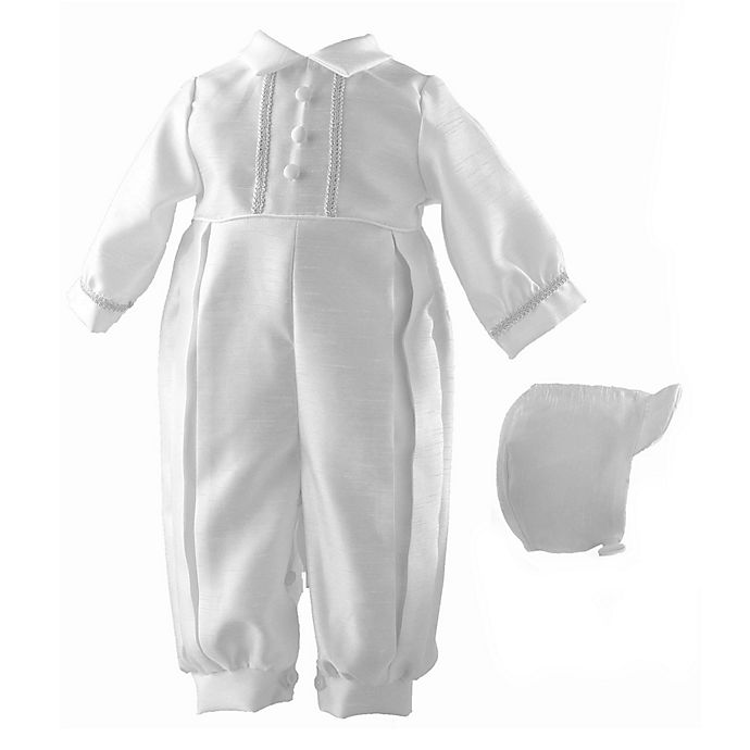 b396d990c5b Lauren Madison Shantung Christening Coverall and Hat Set