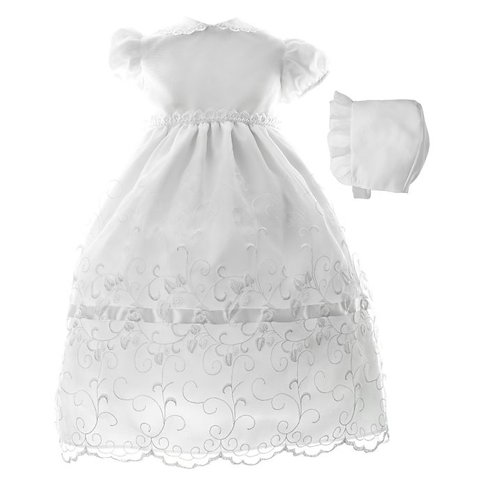 93d05bfc0 Lauren Madison Embroidered Organza Christening Dress and Hat Set ...