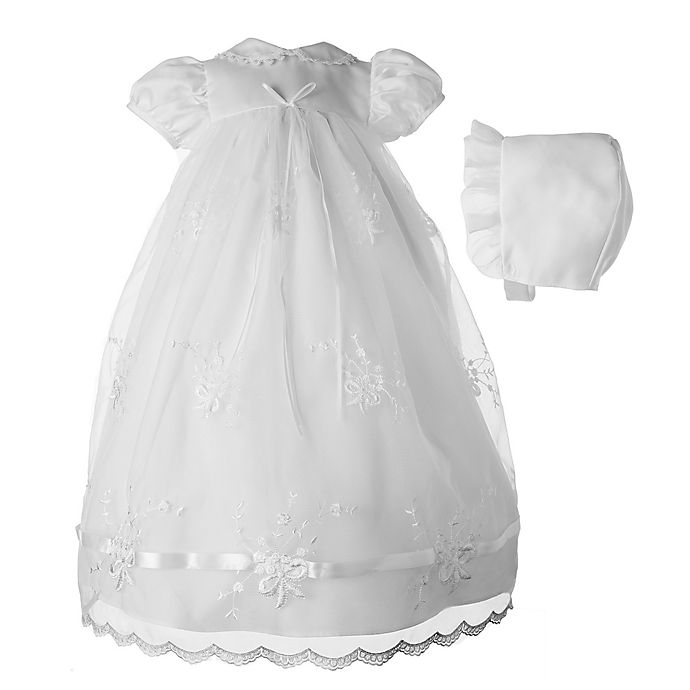 ba542b986 Lauren Madison Pearl-Trimmed Tulle Christening Dress and Headband Set