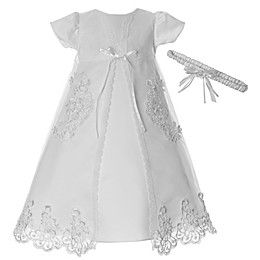 Lauren Madison 3-Piece Embroidered Organza Christening Dress Set