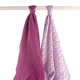 Yoga Sprout 2-Pack Lotus Muslin Swaddle Blankets in Purple