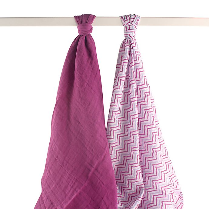 Alternate image 1 for Yoga Sprout 2-Pack Lotus Muslin Swaddle Blankets in Purple