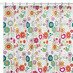 iDesign® Peace & Love Vinyl Shower Curtain