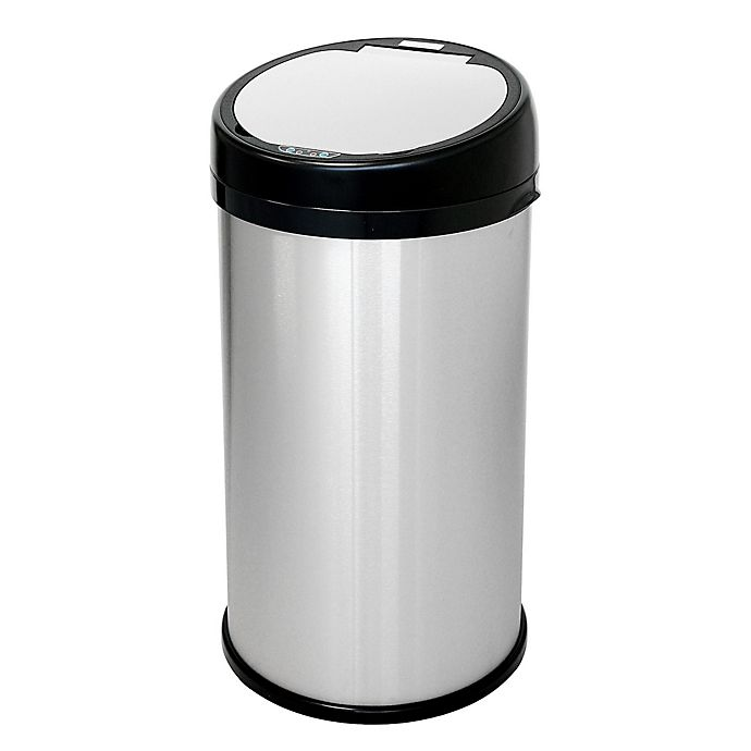 Alternate image 1 for halo™ 13-Gallon Stainless Steel Extra-Wide Round Sensor Trash Can