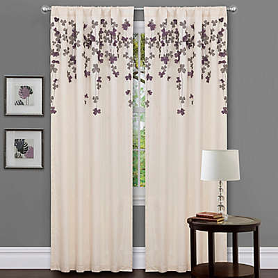 Lush Décor Flower Drops 84-Inch Rod Pocket Window Curtain Panel